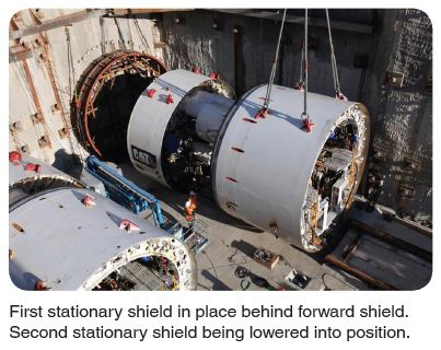 stationary shield being lowered