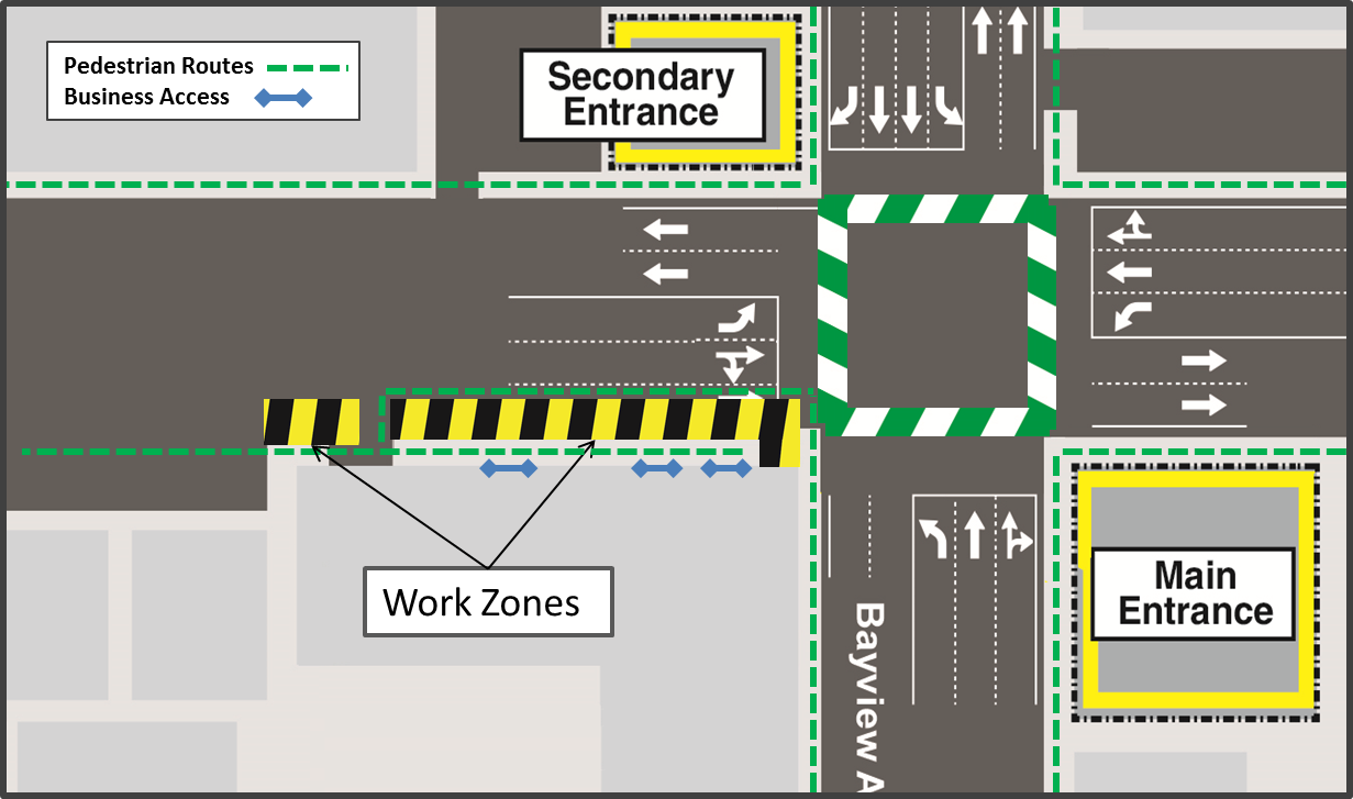 Map showing the work zone set-up in the curbside, eastbound lane on Eglinton Avenue East, from 595 Eglinton Avenue East to Bayview Avenue.