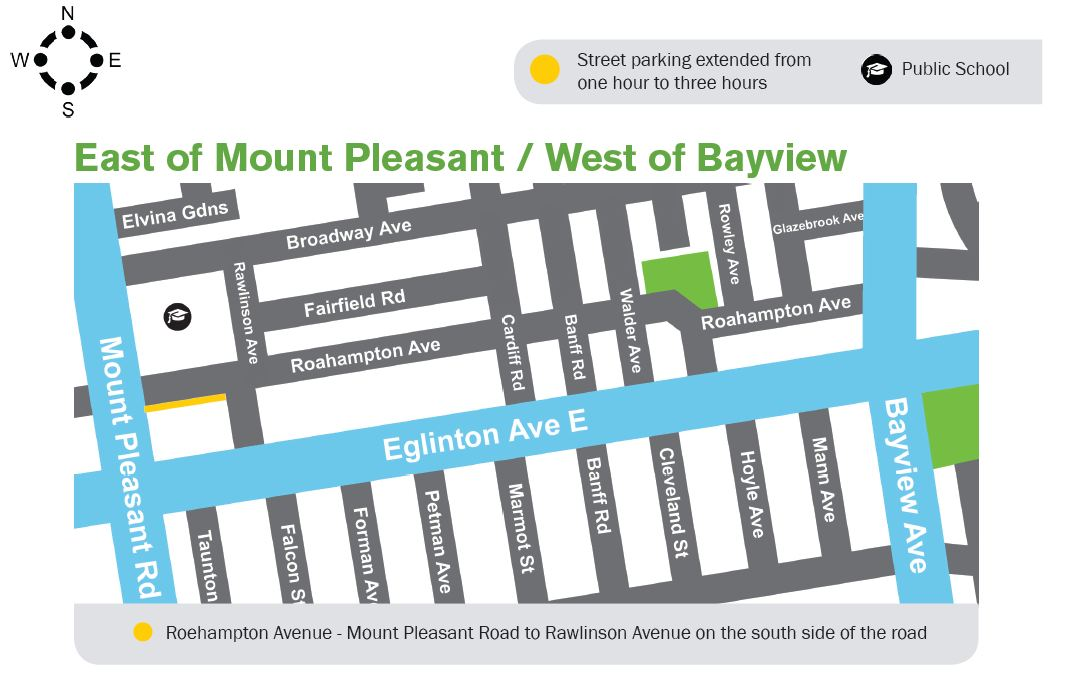 map east of mount pleasant / west of bayview