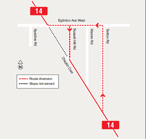 TTC Detour - Chaplin Closure - June 8