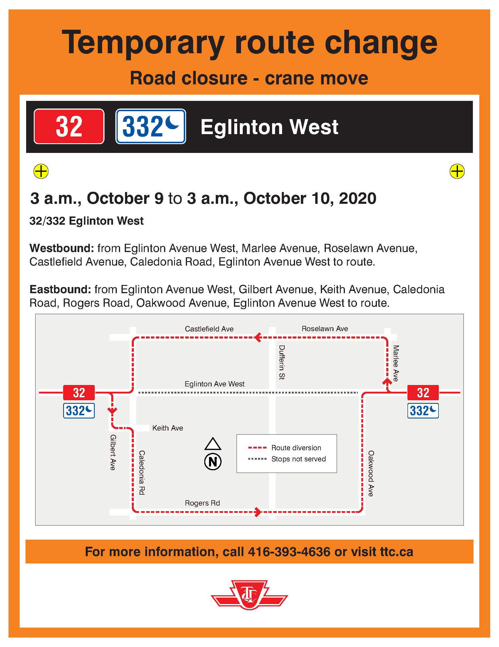 TTC Detour during Road Closure for Crane Relocation at Oakwood Station