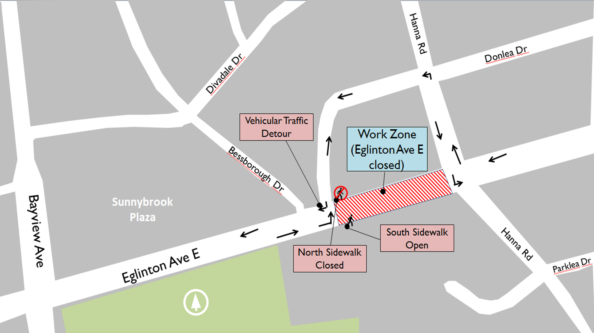 Map showing the vehicular traffic detour route for the Eglinton closure