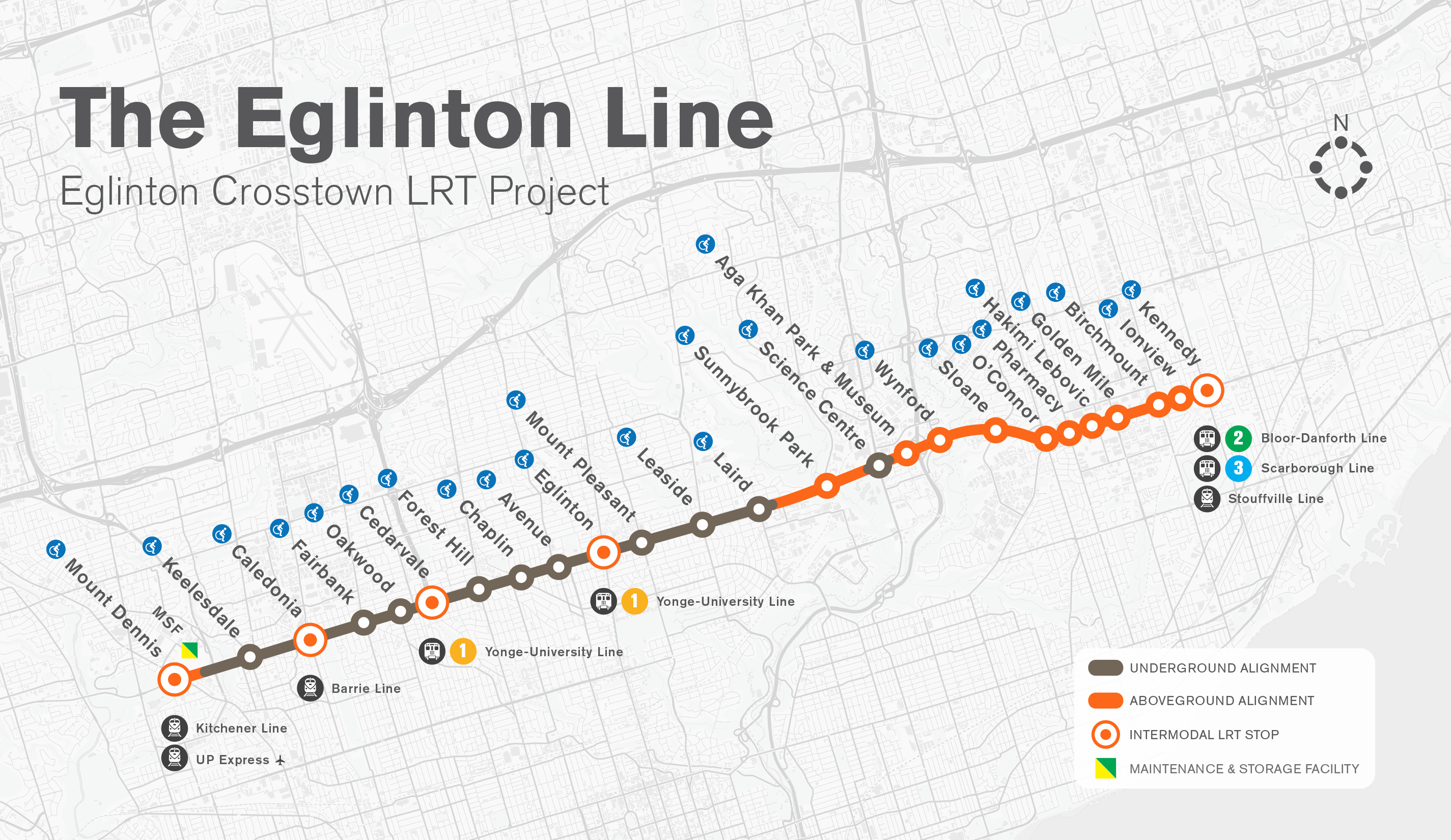 Construction map of the Eglinton Crosstown
