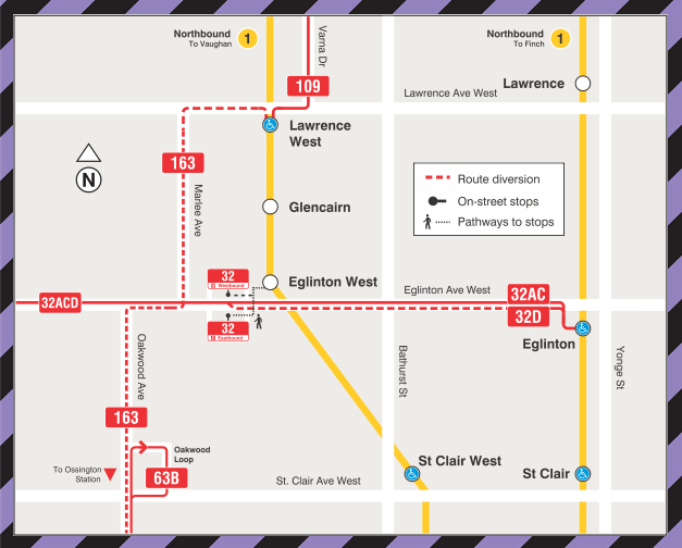 TTC Routing during Eglinton West Station Bus Loop Closure (until late fall 2020)