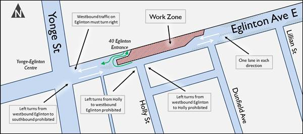 Map showing work zone and traffic details