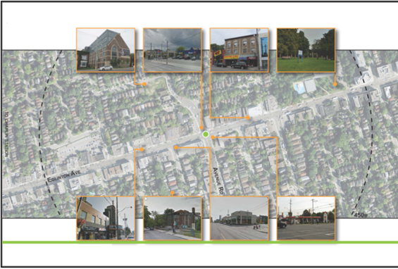 There is a mix of residential, commercial and storefront businesses in proximity to the future Avenue station