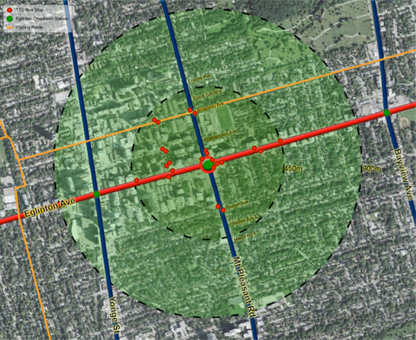 Demand for transit is high near Mount Pleasant and Eglinton Avenue