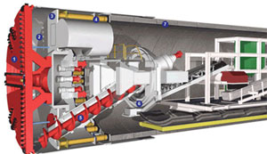 Cross-section of a Tunnel Boring Machine