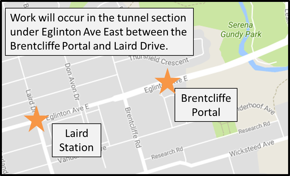 Work will occur in the tunnel section under Eglinton Avenue East between the Brentcliffe Portal and Laird Drive