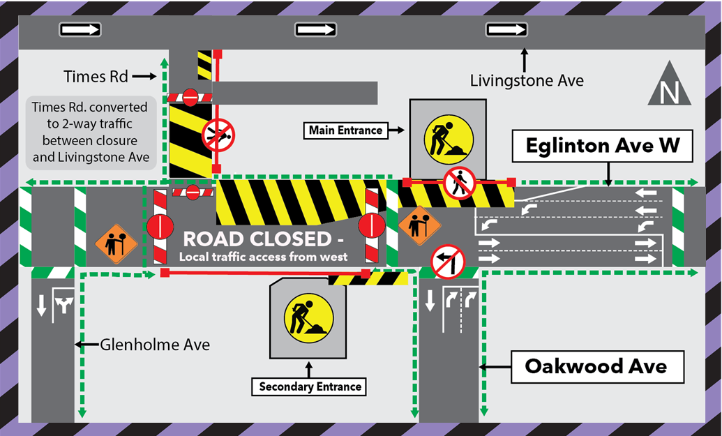 Eglinton Avenue West Road Closure for Tower Crane Relocation at Oakwood Station - Oct 16