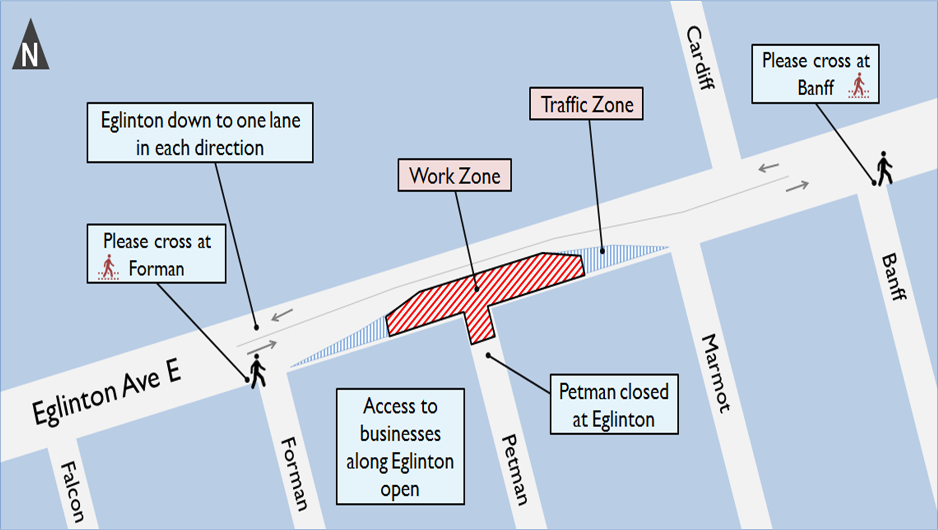 Map showing the traffic and pedestrian details for this work