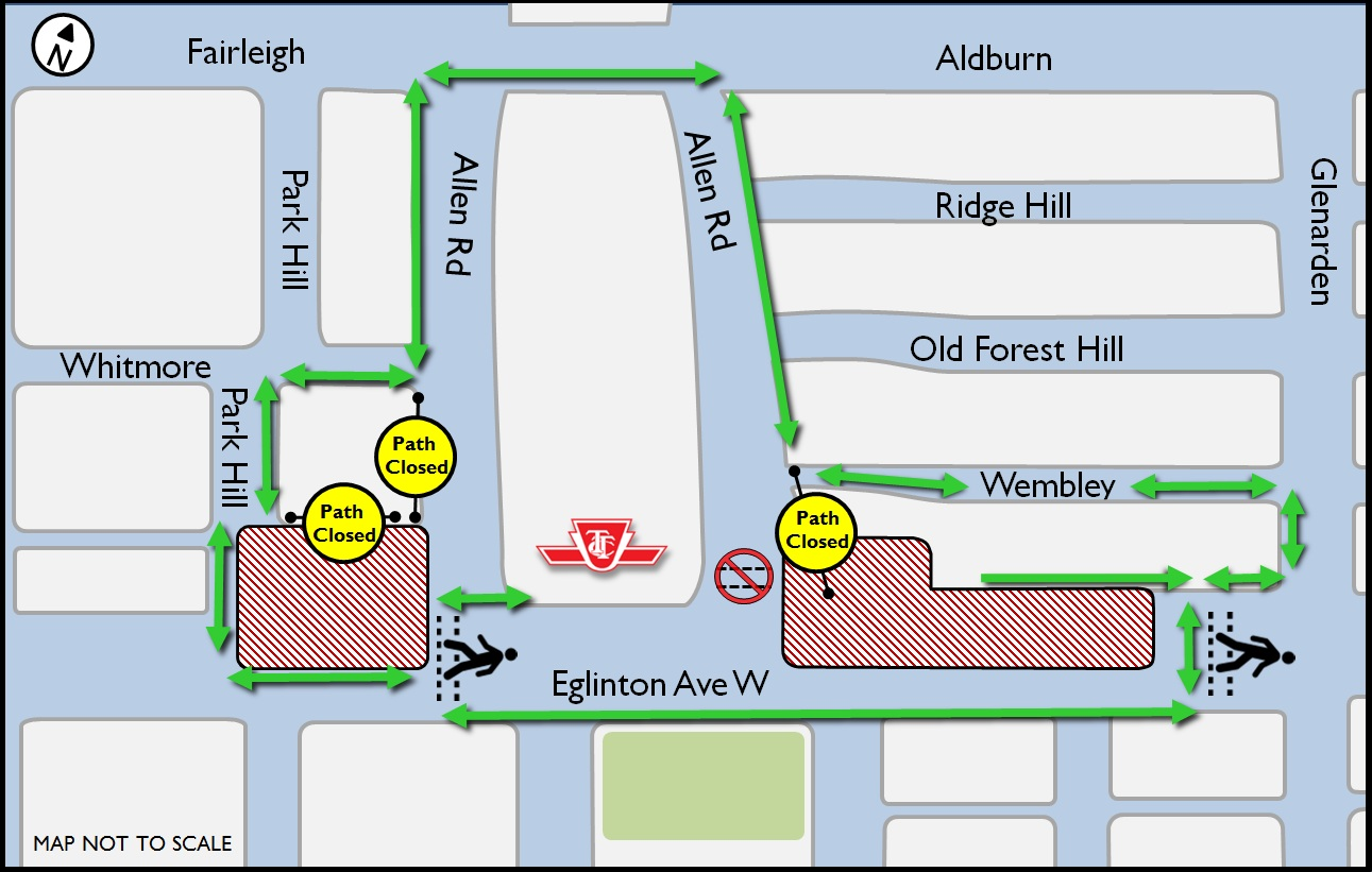 Relocation of temporary pedestrian walkway Allen Rd June 2015