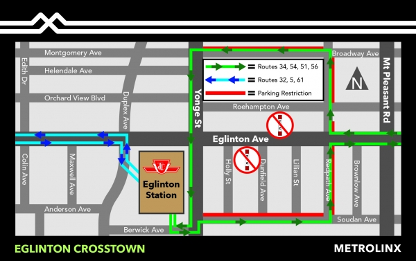 TTC Detour and Parking Restriction Map