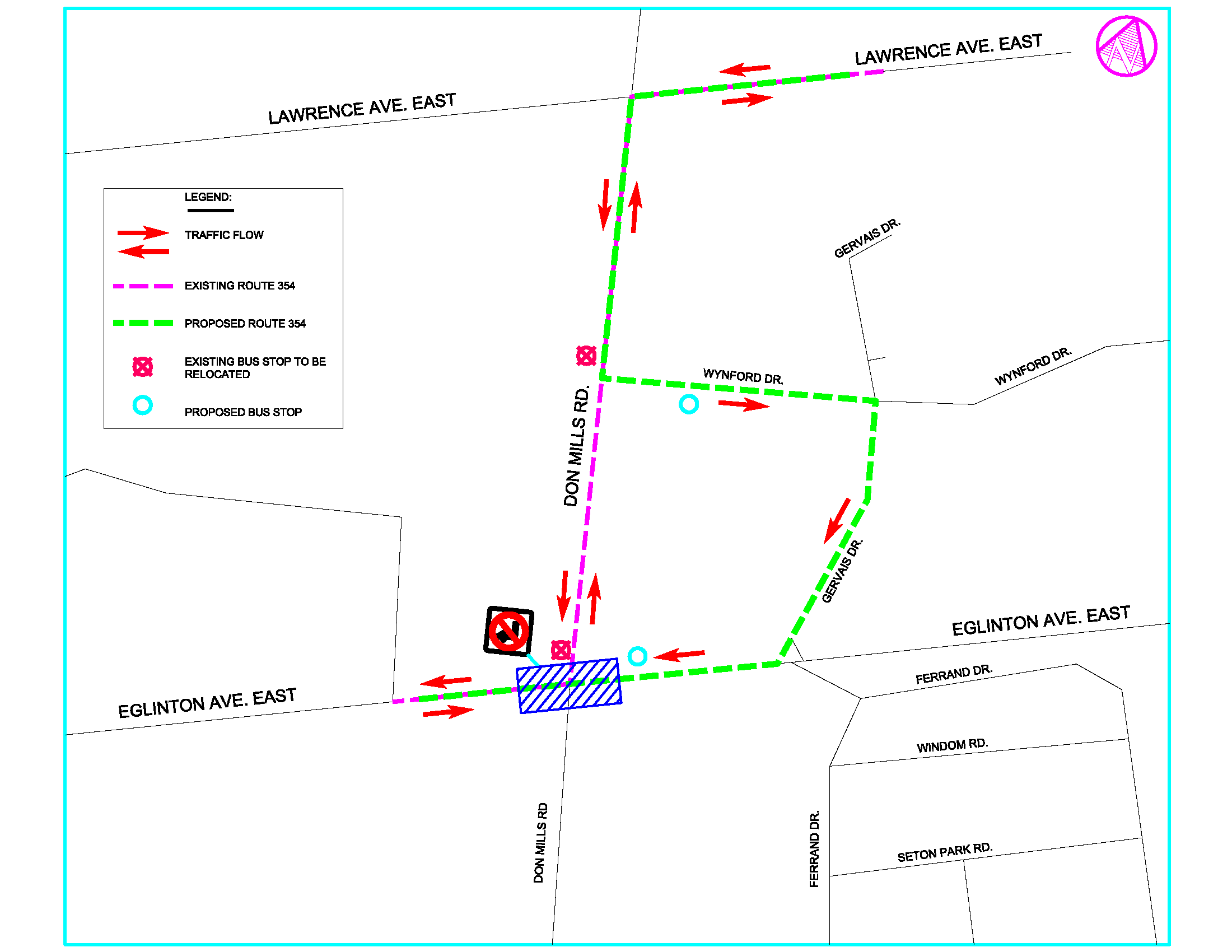 Showing the TTC Bus Route #354 (Lawrence East) overnight bus detour route