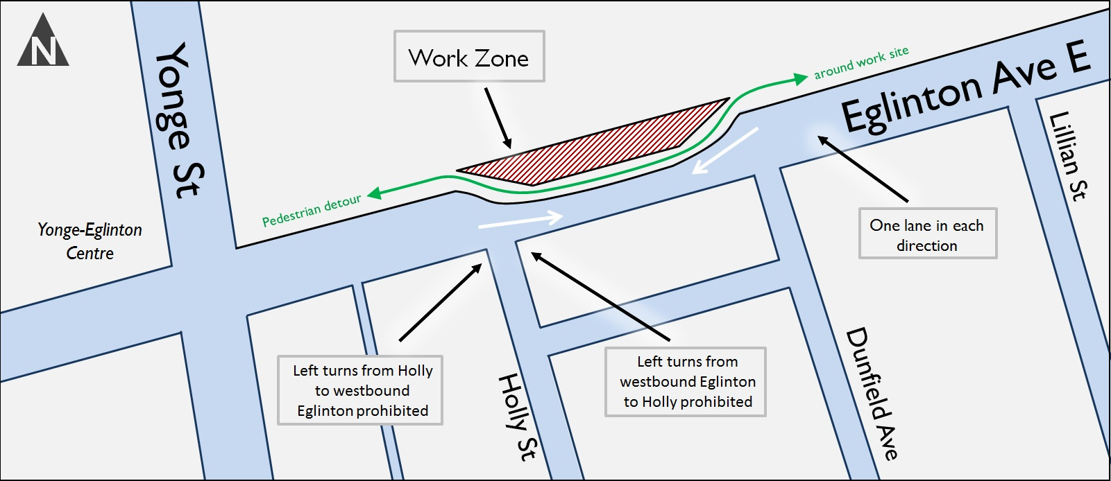 Map - work zone NE Yonge & Eg Jan 2015